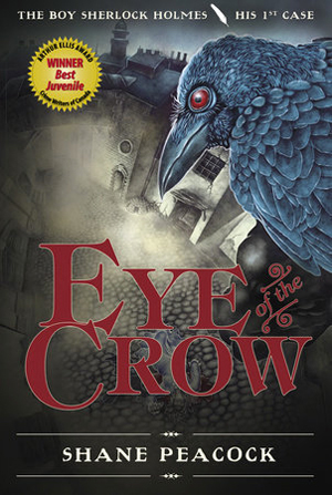 The cover of The Boy Sherlock Holmes: Eye of the Crow. It shows a red-eyed crow looking from a roof down towards a foggy cobblestone street.