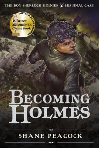Cover of The Boy Sherlock Holmes: Becoming Holmes. Sherlock looks back over his shoulder as he stands on a wall, with a graveyard in front of him