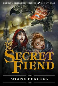 Cover of The Boy Sherlock Holmes: The Secret Fiend. Two young girls cower in terror as Spring Heeled Jack flies over them with metal claws and blue flames in his mouth